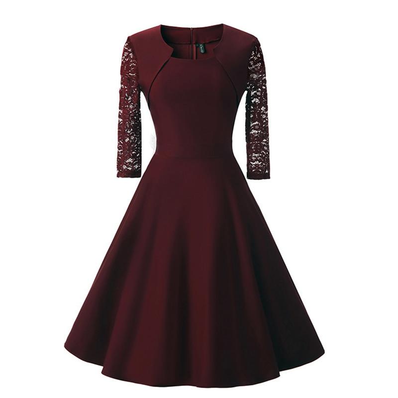 Belle Poque 2018 women Autumn Vintage dress Black Half Sleeve Square-Neck Retro Slim Rockabilly Vestidos Party Black Lace Dress