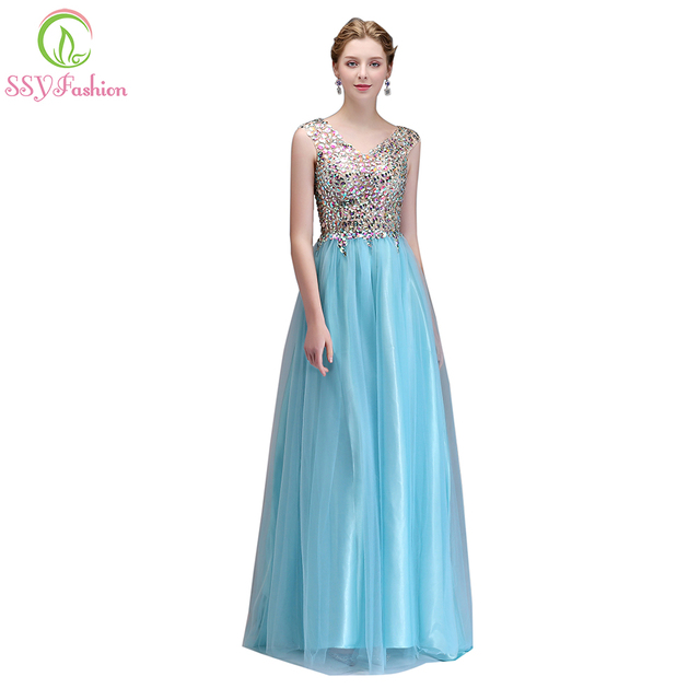 SSYFashion New Luxury Crystal Beading Evening Dress Light Blue Banquet Sexy  V-neck Long Prom Party Formal Gown Robe De Soiree b8a3b4e0d