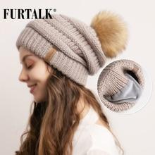 FURTALK Winter Beanie Hat for Women Knitted pompom Velvet Lining slouchy beanie Skullies bonnet Cap Female Korean Red