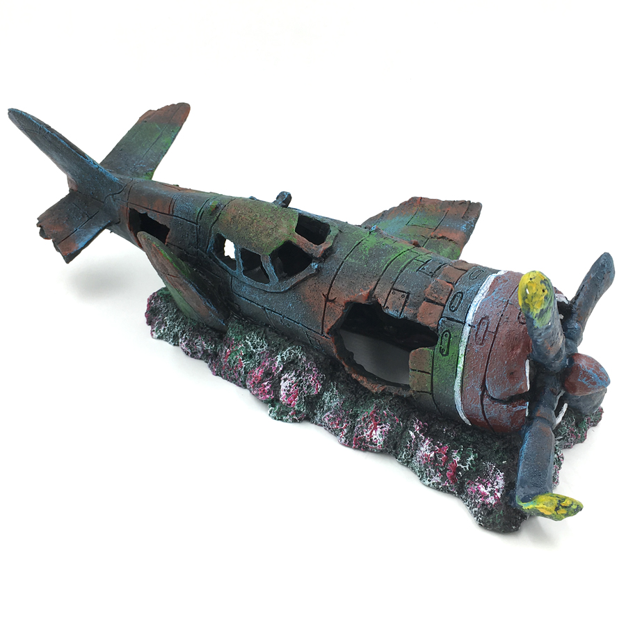 Aquarium ornament fighter plane resin wreck airplane for Aquarium airplane decoration