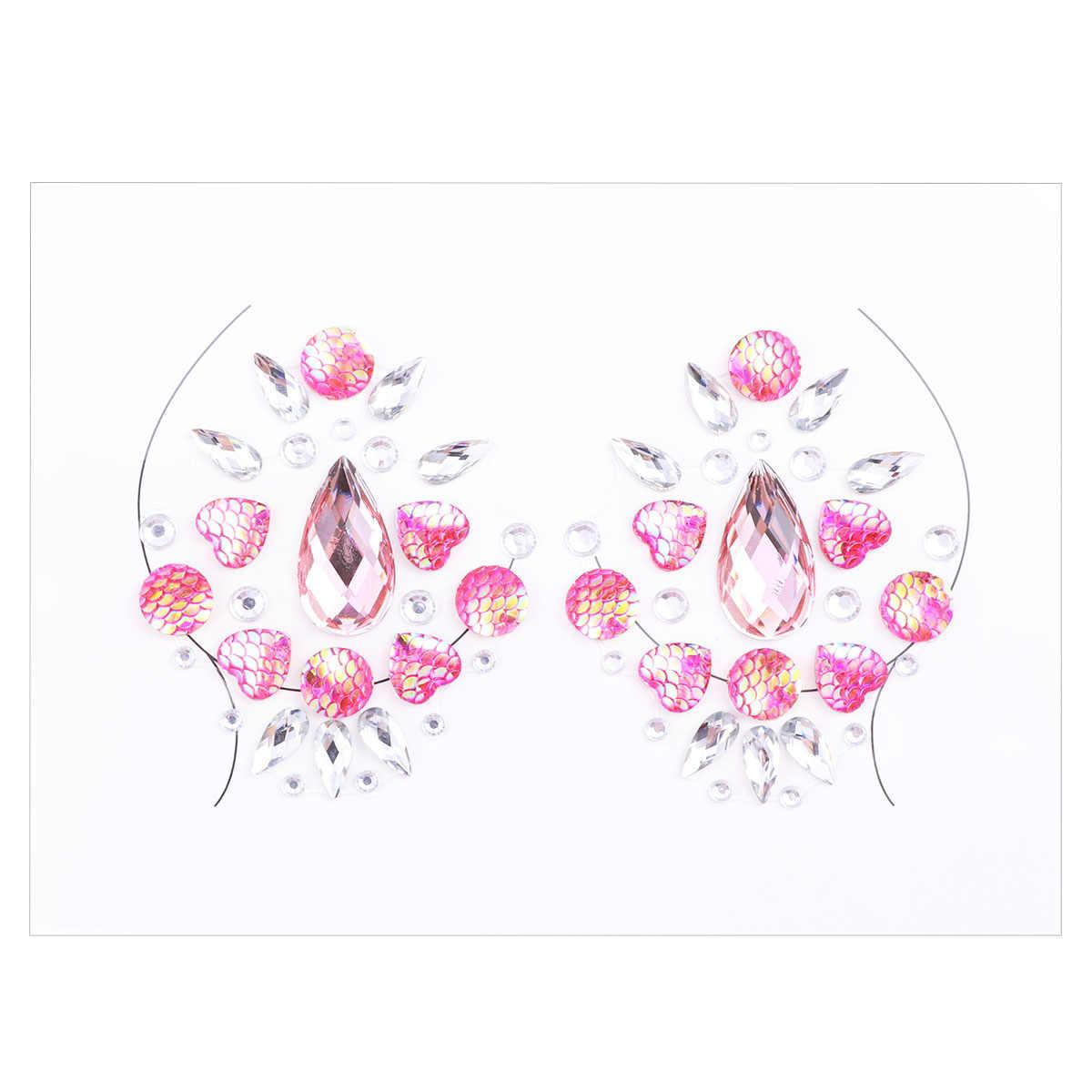 سيدة كريستال الثدي فطائر اللحم الاكريليك الماس الشائكة الفن كرنفال حزب الثدي ملصقات (روزي)