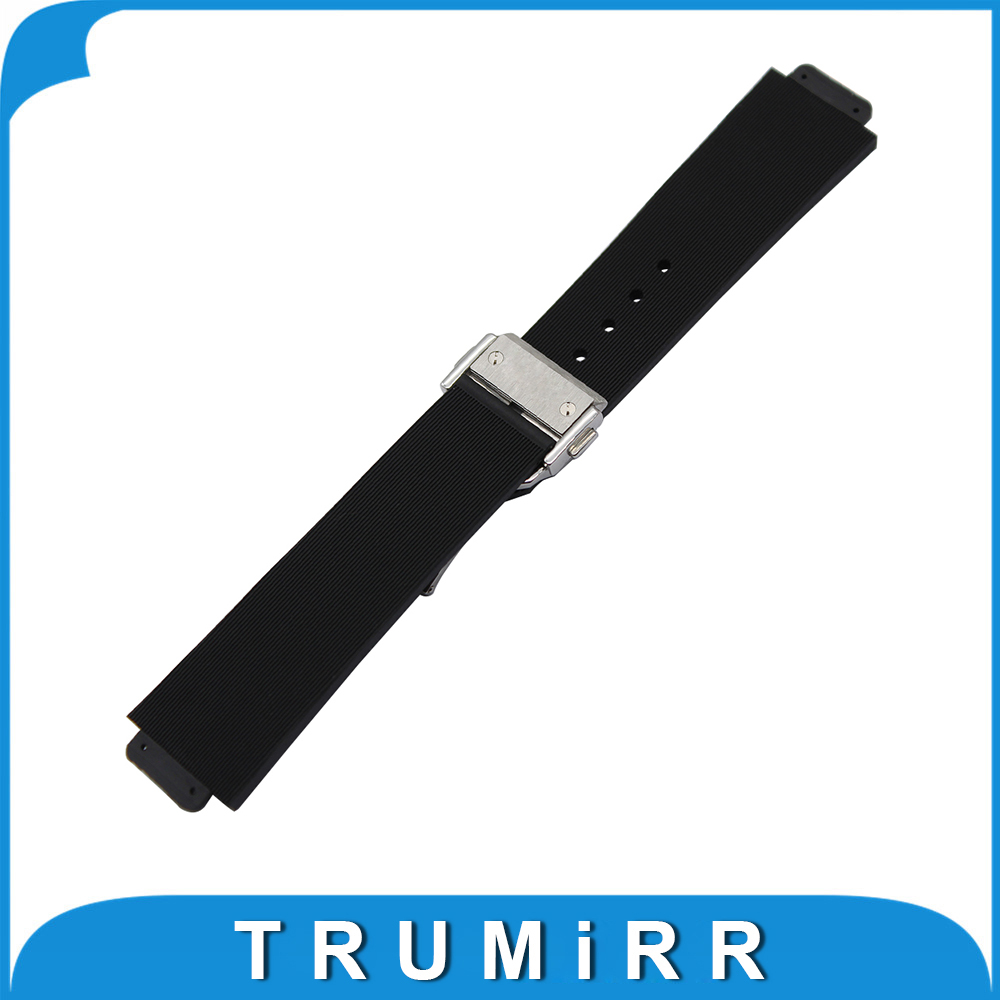 Convex Silicone Rubber Watchband 23x15mm 26x19mm 28x19mm for Hublot Watch Band Butterfly Buckle Strap Wrist Belt