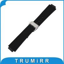 Convexe Caoutchouc Bracelet En Silicone 23x15mm 26x19mm 28x19mm pour Montre Hublot Bande papillon Boucle Courroie de Poignet Bracelet Noir