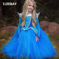 New Winter Girls Sleeping Beauty Princess Dresses Aurora Kids Girls Halloween Party Christmas Cosplay Dresses Children