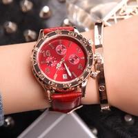 Mulheres da moda Calendário Relógio de Quartzo Rosa De Ouro Marca de Luxo GUOU Seis-pin Retro Big Dial Feminino Multifuncional Relógio À Prova D' Água