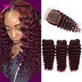 Mink Brazilian Hair With Closure 3 Bundles Brazilian Deep Wave With Closure 99J Red Virgin Human Hair Bundles With Lace Closure