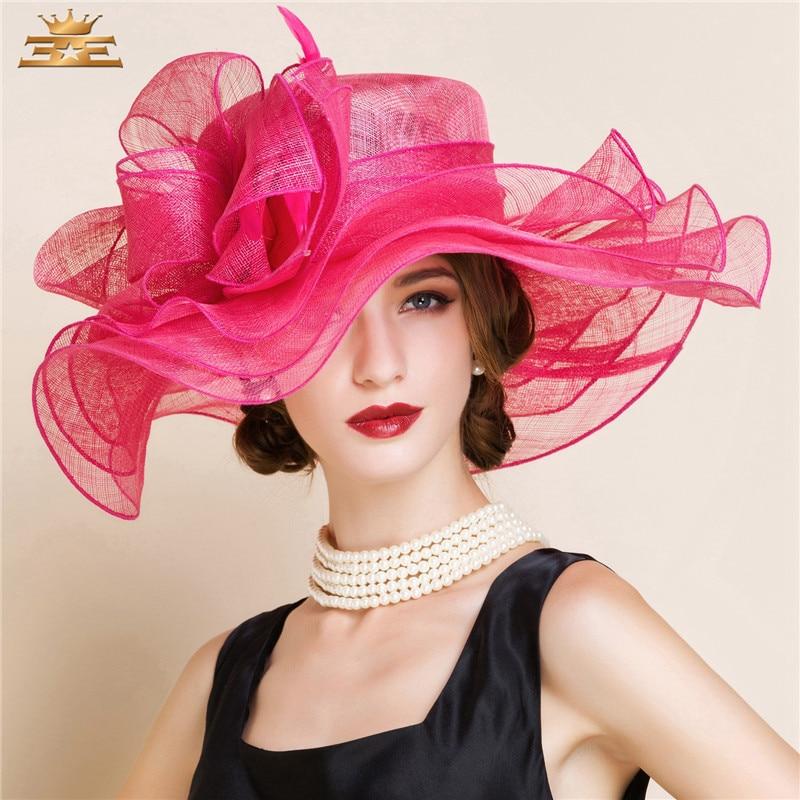 Elegant Linen Large Brim Fedora Hat Women Summer British Hat Styles Cloche Fedora Flower Floppy Ladies Church Derby Hats B-8183