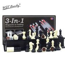 3 в 1 шахматы шашки набор нард путешествия пластиковые шахматы магнитные шахматы складные Шахматы Подарок развлечения I7