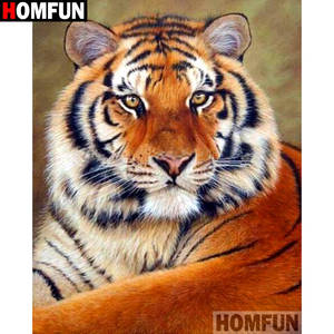 HOMFUN Full SquareRound Drill 5D DIY Diamond Painting Animal tiger Embroidery Cross Stitch 3D Home Decor Gift A11927