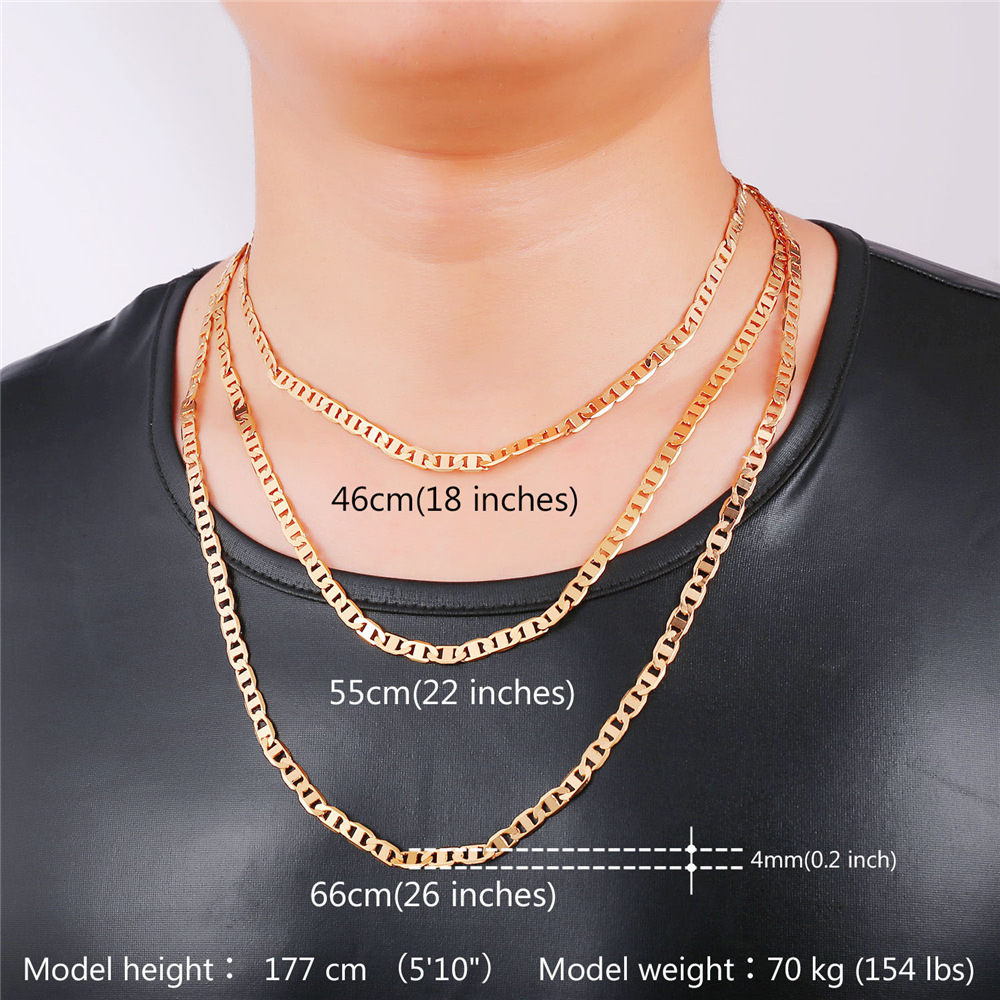 Kpop 2016 Italian Mariner Chain Necklace Mens Jewelry GoldRose