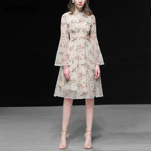 Seifrmann New Women Spring Summer Dress Runway Fashion Designer Floral Embroidery Mesh Overlay Elegant Vintage Ladies Dresses