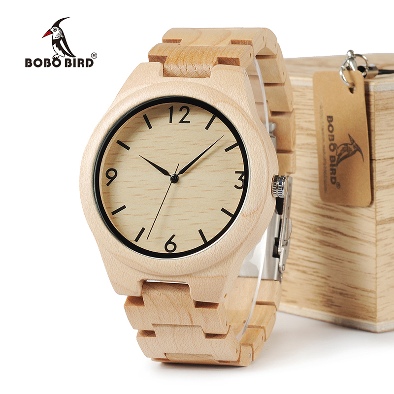 BOBO BIRD WH01 Pine Wooden Quartz Watch Season Gift Design for Anniversary Edition Series of Wooden Watches Maple OEM bobo bird wf10 new maple wood watch pine wooden top brand luxury quartz watches for men with gift box relojes mujer oem