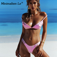 Minimalism Le Sexy Bikini Solid Swimsuit Swimwear Halter Top 2018 Women Bandage Bikini Set Beach Wear