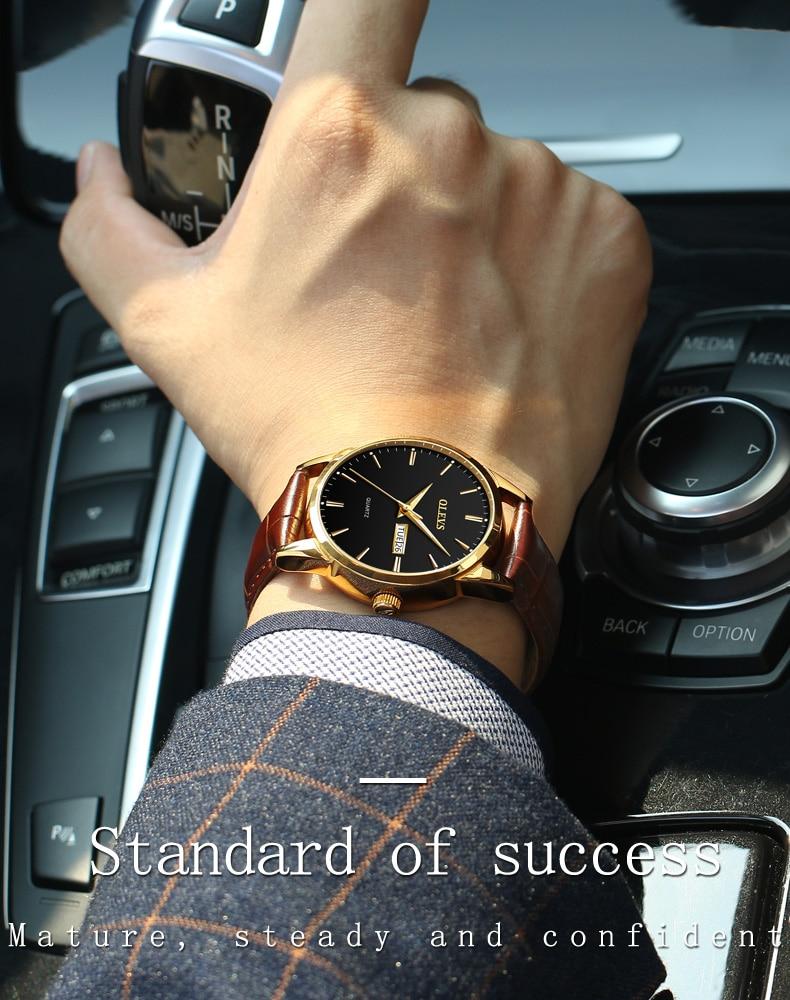 4686b884737 OLEVS Mens Relógios Top Marca de Luxo À Prova D  Água 24 horas Data Quartz Relógio  de ouro Homem De Couro Relógio De Pulso Dos Homens Do Esporte À Prova D  ...