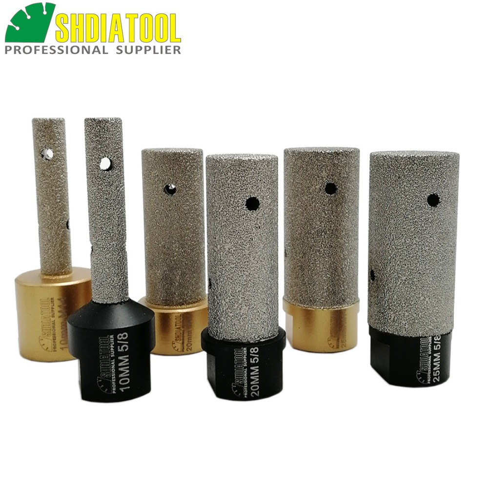 DIATOOL 1pc Dia 10/20/25mm Vacuum Brazed Diamond Finger Bits With 5/8-11 Or M14 Thread Enlarge Shape Round Bevel Existing Hole