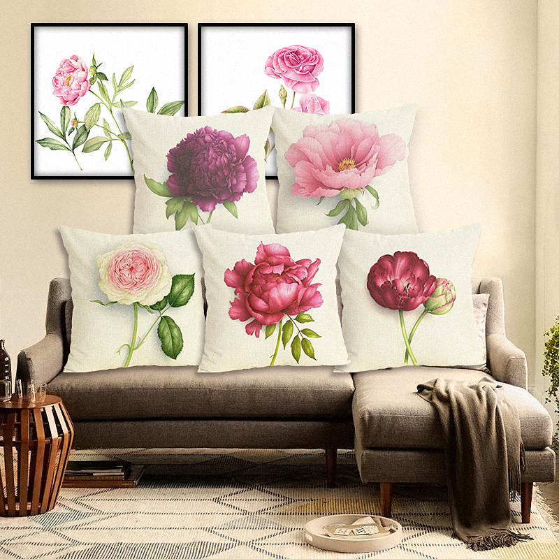 Home Decor Square Pillow Case Floral Printed High Quality Cotton Linen Modern Cushion Cover Sofa Throw Pillow