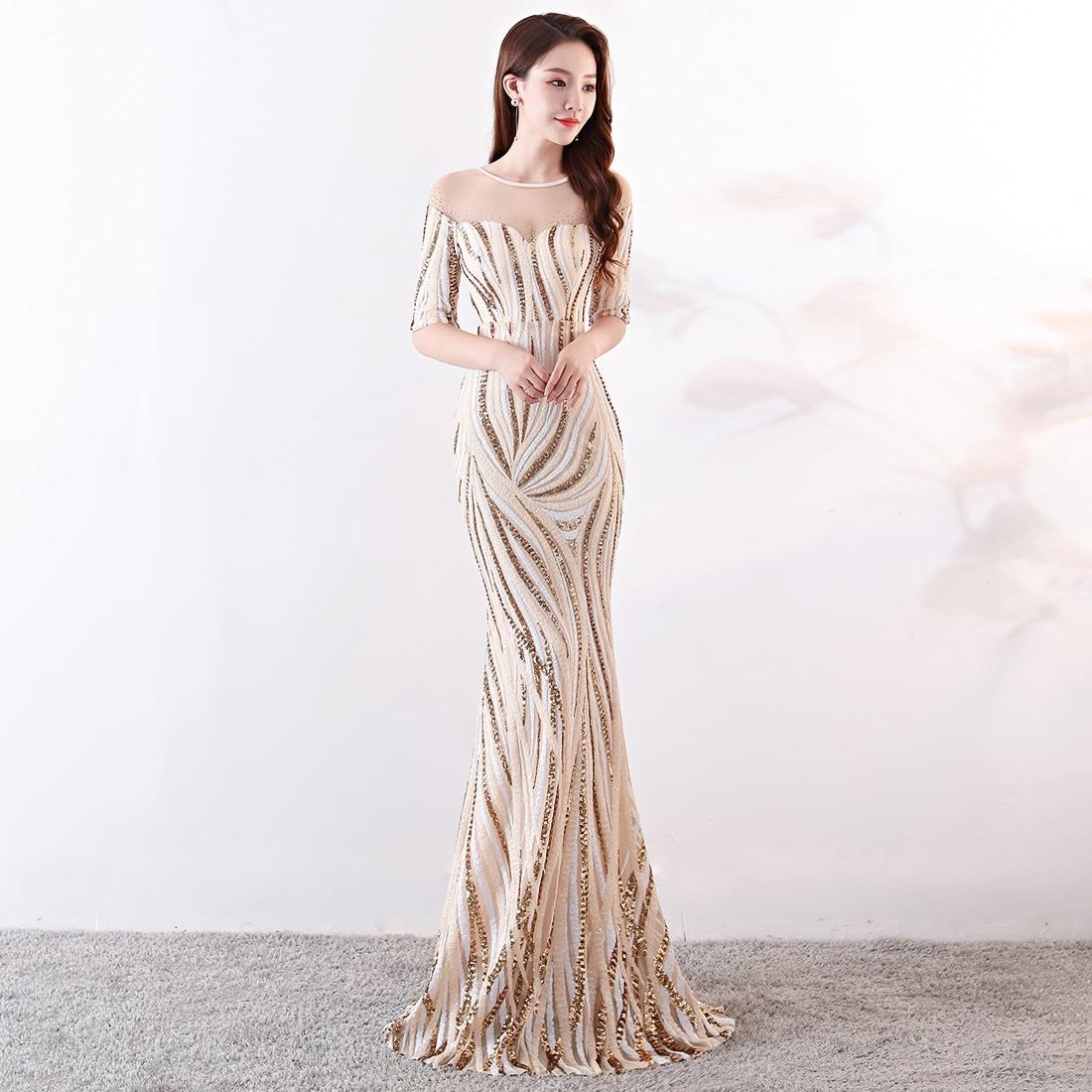 Sexy rayé Sequin robe élégante perles soirée robe de soirée longue femmes Mermain robe noir maille dos nu robe d'été 2019