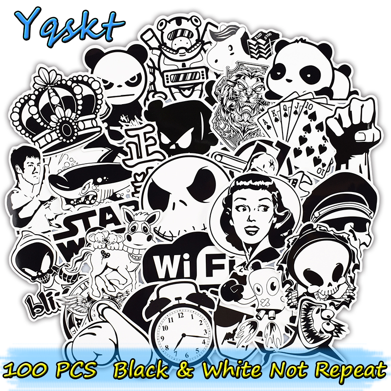 100 Pcs Black and White Stickers for Laptop Motorcycle Car Styling Luggage Bicycle Skateboard Vinyl Decals DIY Sticker стоимость