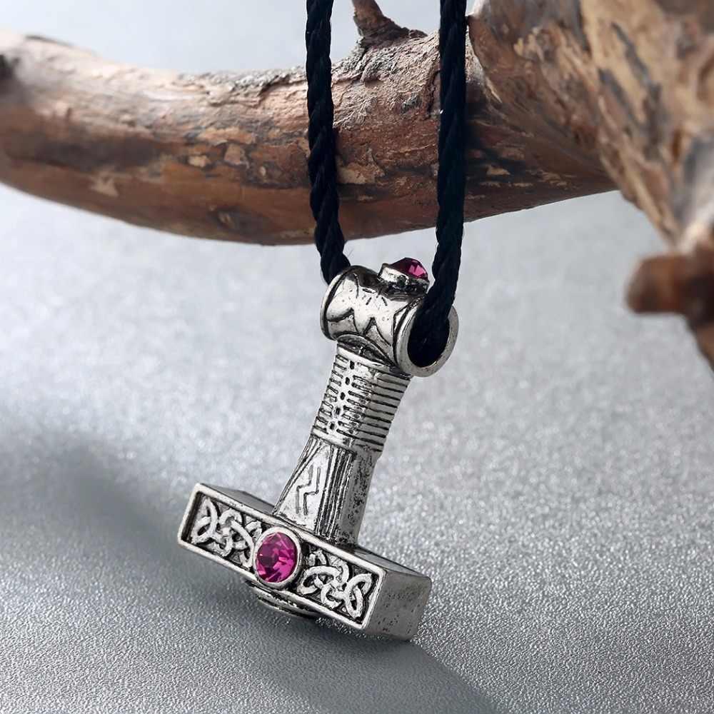 CHENGXUN винтажное ожерелье Svarog подвеска с молотком Красный Цирконий славянский Шарм Перун один зеус ожерелье черный ремень мужской колье