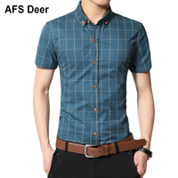 Plaid Shirt Men Short Sleeve Shirt Mens Designer Shirts Mandarin Collar Summer Casual Dress Shirt Social Chemise Homme Blouse