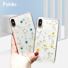 Pohiks NEW Real Dried Pressed Flowers TPU Clear Phone Case For iPhone X XS MAX XR 8 Plus iphone Max Transparent Cover