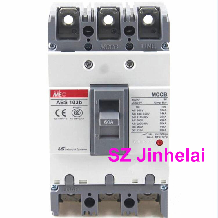 ABS103b Authentic original ABS 103b LS Molded case circuit breaker ABS-103B Air switch 3P 15A/20A/30A/40A/50A/60A/75A/100A cm1 400 3300 mccb 200a 250a 315a 350a 400a molded case circuit breaker cm1 400 moulded case circuit breaker