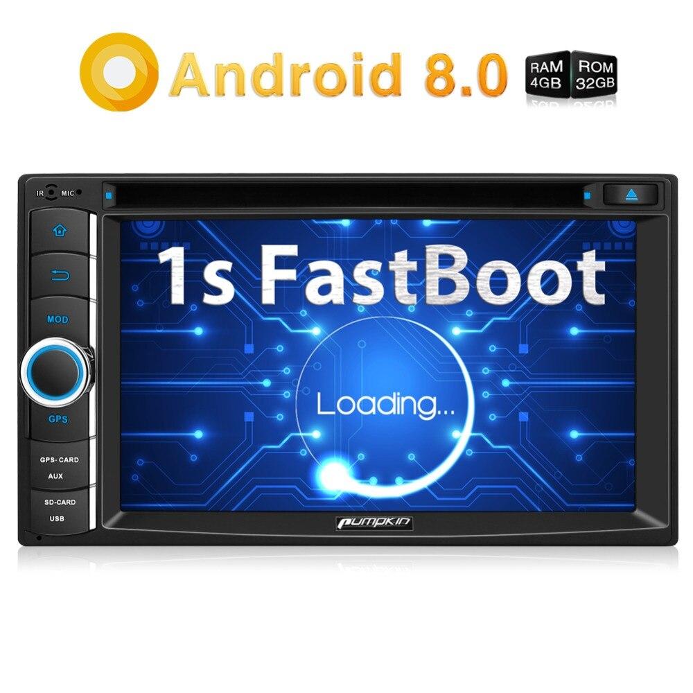 Тыква 2 Din 8,0 ''Android 6,2 Универсальный Автомобильный dvd-плеер Qcta-core gps навигация автомобиля стерео быстрая загрузка Wifi FM Rds Радио головного устрой...
