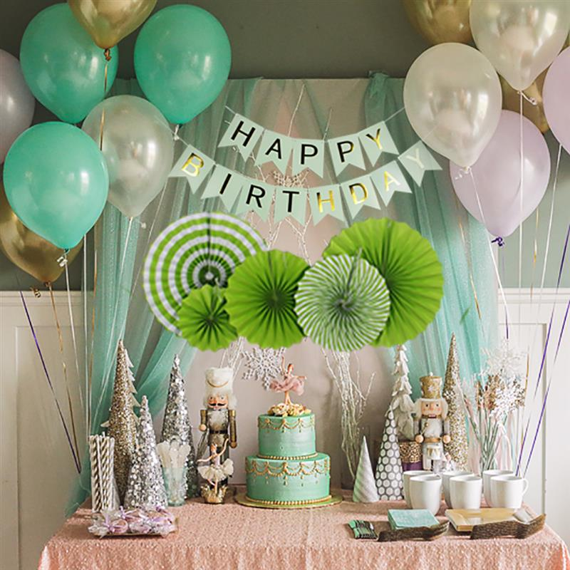 Party Decoration Set Including Hanging Banner Paper Fan Pom Pom Hanging Ornament Kit for Baby Girls and Boy Happy Birthday Decor