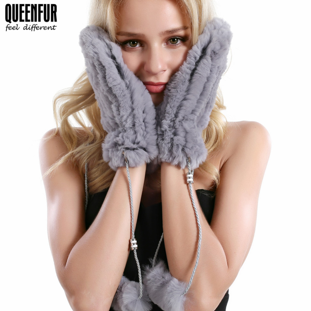 QUEENFUR Winter Women Fur Gloves 100% Real Rex Rabbit Fur Gloves Knitted Mittens Thick Warm Soft Gloves With Hanging String