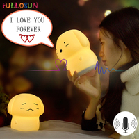 Cutely Dog 7 Colors Changing Silicone Night Light Kids Lamp Soft Light Baby Bedroom Sleeping Decor Gifts