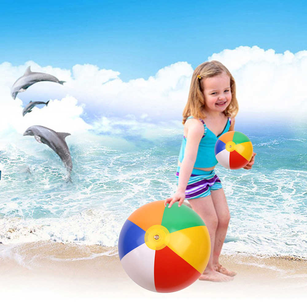 23/30/36cm Aufblasbare Strand Ball PVC Wasser Luftballons Regenbogen-Farbe Kugeln Sommer Im Freien Strand Schwimmen spielzeug Neue Ankunft