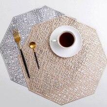 6 шт. Восьмиугольные салфетки для обеденного стола ПВХ Восьмиугольные полые теплоизолированные многоугольные коврики водонепроницаемые Нескользящие Коврики для стола