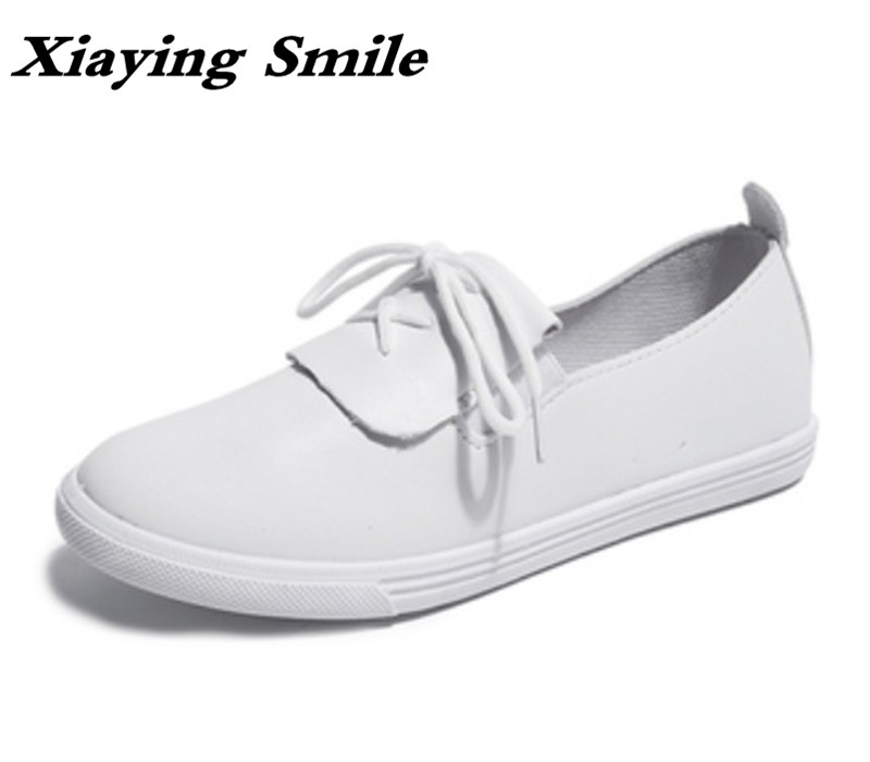 Xiaying Smile Woman Flats Women Brogue Shoes Spring Summer Round Toe Slip On Casual Antiskid Bowtie Shallow Nurse Women Shoes xiaying smile summer women sandals casual fashion lady square heel slip on flock shoes pointed toe cover heel lace bowtie shoes
