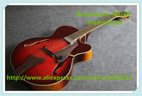 Chinese Custom Shop Hollow Maple Jazz Guitar Electric In Wine Red For Sale