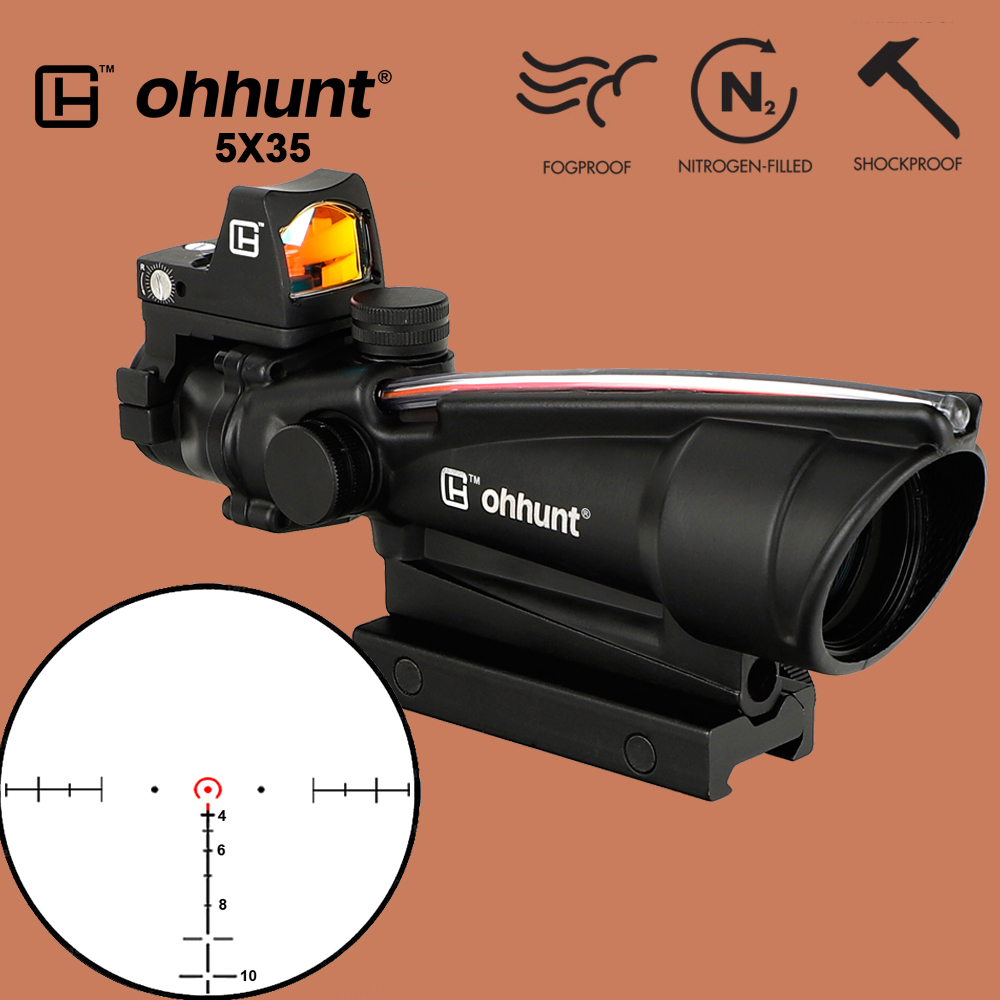ohhunt 5X35 Hunting Real Fiber Scope BDC Chevron Horseshoe Reticle Tactical Optical Sights with Red Dot