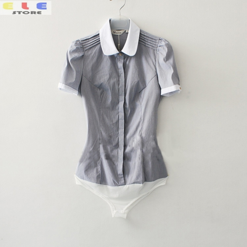 Новинка года; Летний стиль; женская модная рубашка; топы; Повседневная рубашка с коротким рукавом; тонкая серая полосатая официальная блузка для работы; рубашки