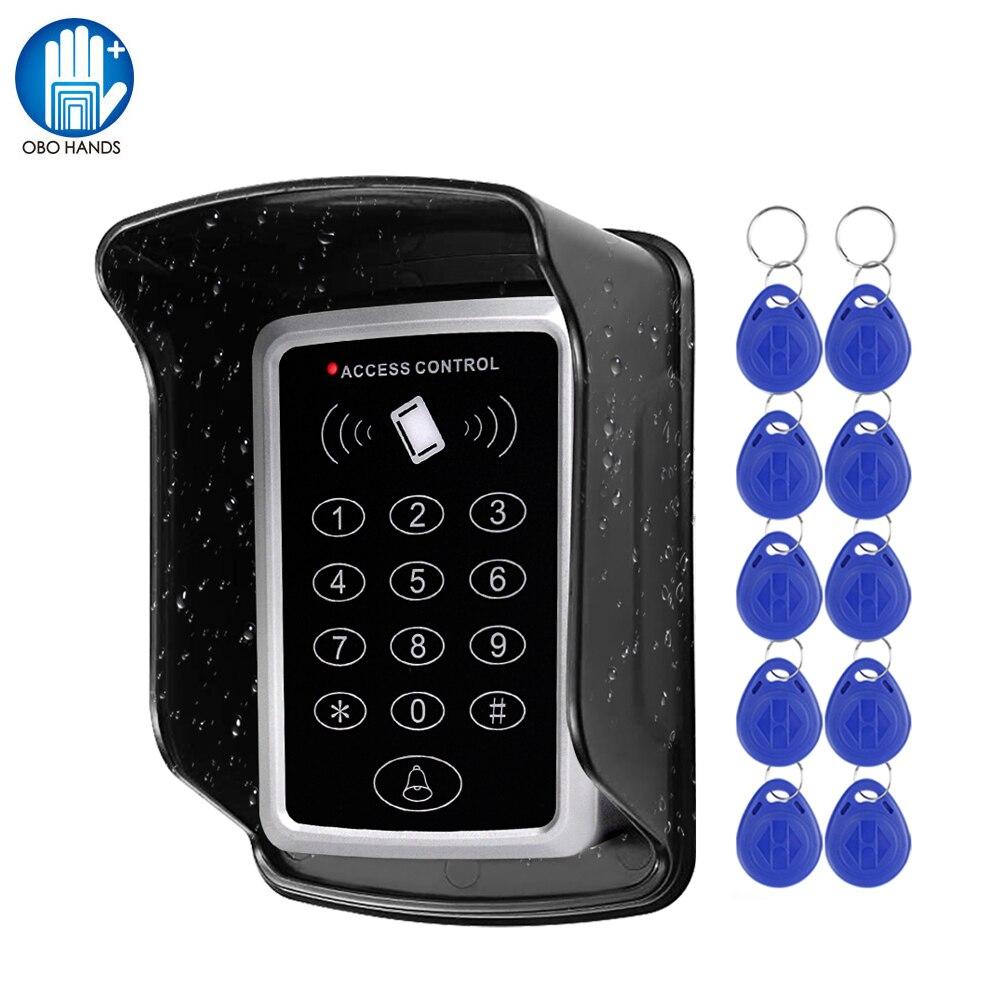 Impermeable RFID teclado Control de acceso al aire libre cubierta impermeable 125KHz EM lector de tarjeta 10 piezas llaveros para Control de acceso de puerta sistema de