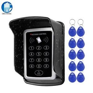 Image 1 - Wasserdicht RFID Access Control Keypad Outdoor Regen Abdeckung 125KHz EM Kartenleser 10 stücke Keyfobs Für Tür Access Control system