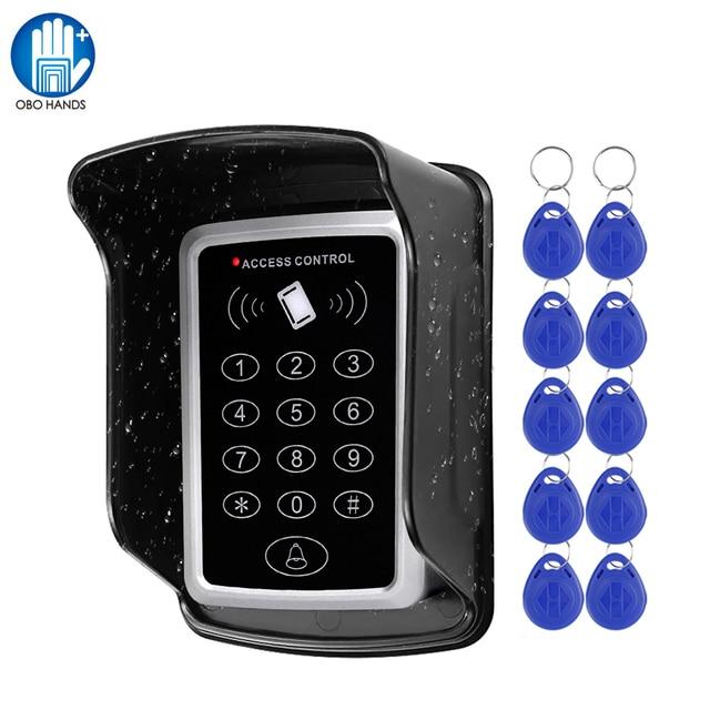 Wasserdicht RFID Access Control Keypad Outdoor Regen Abdeckung 125KHz EM Kartenleser 10 stücke Keyfobs Für Tür Access Control system