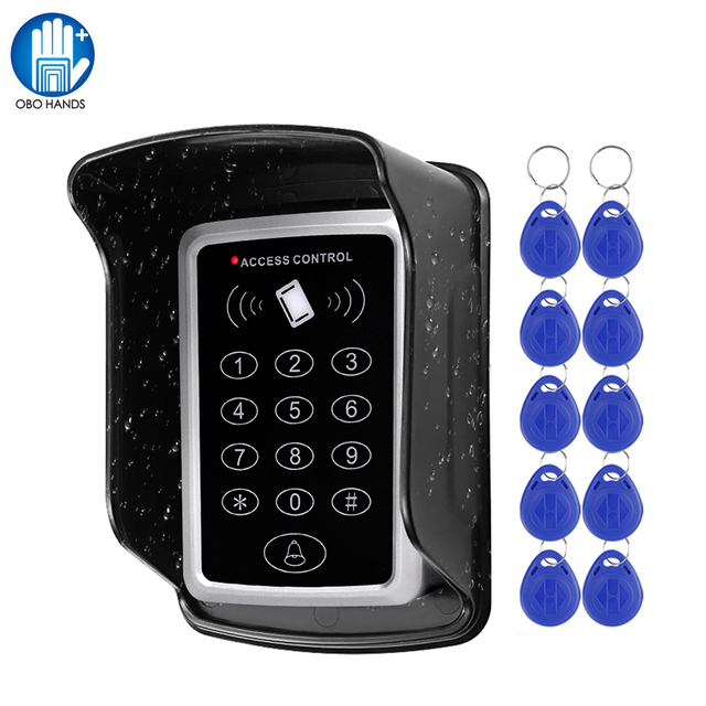 Waterproof RFID Access Control Keypad Outdoor Rainproof Cover 125KHz EM Card Reader 10pcs Keyfobs For Door Access Control System