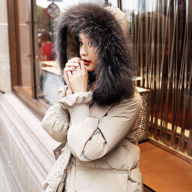 Real Raccoon Fur Hooded Long Parka Winter   Down   Jacket Women 2019 New Arrival Womens Thick 90% White Duck   Down     Coat   Winter Jacket