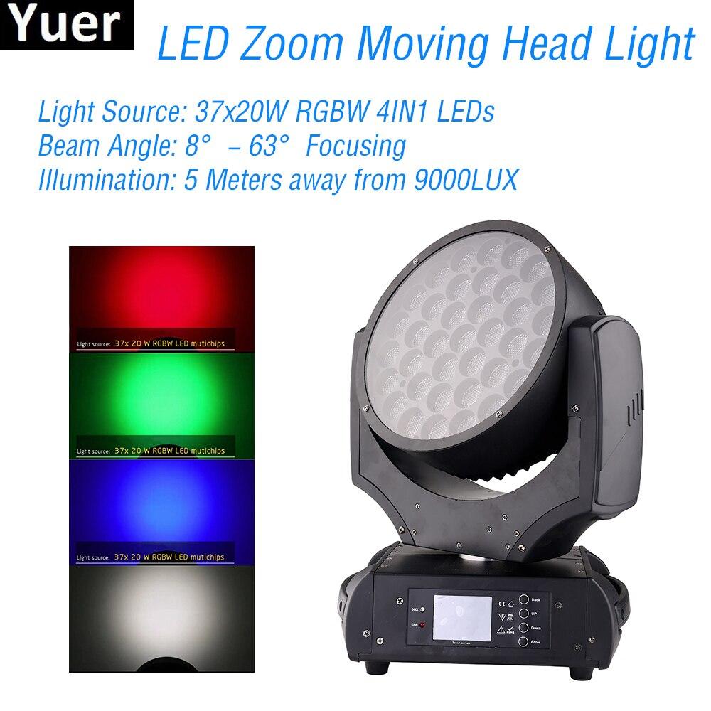 Nouveau 37x20 W LED Zoom mobile lumière de la tête RGBW 4IN1 parti Club Bar lumière musique Disco DJ équipement projecteur Zoom déplacer la lumière de la tête