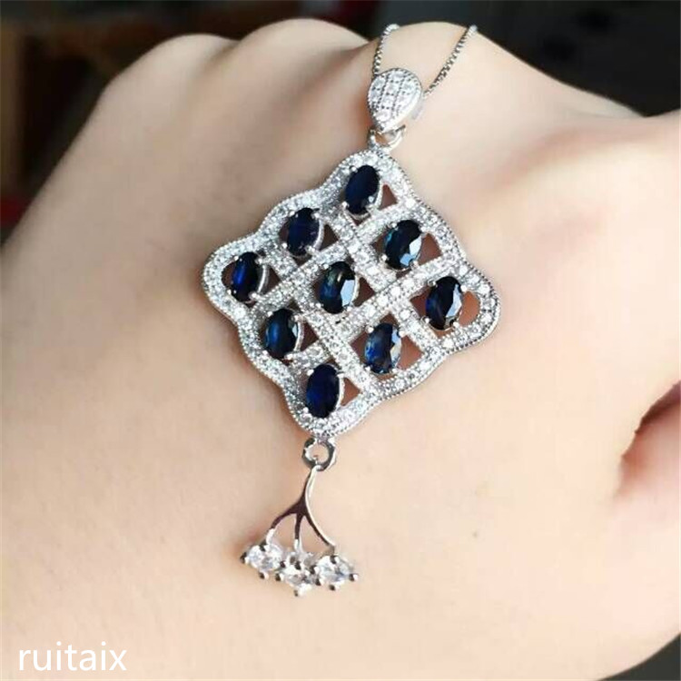 KJJEAXCMY boutique jewels 925 Pure silver inlay natural shandong sapphire square female pendant + necklace 1 pair square faux sapphire inlay hairpin