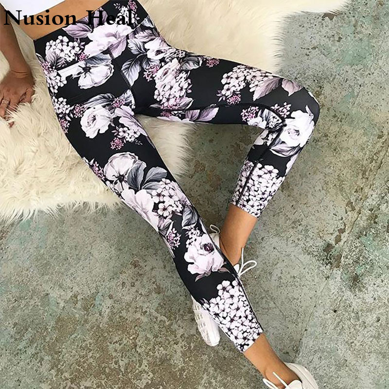 2018 Yoga Sport Leggings High Waist Compression Pants Gym Clothes Sexy Running Floral Print Yoga Tights Women Fitness Yoga Pants