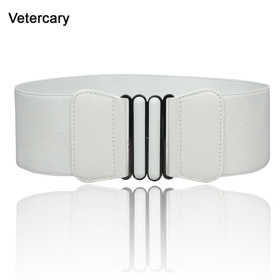 Women Elastic Waistband Elegant Vintage Black Buckle Waist Cummerbund For Woman Lady Wide Belts White Female Dress Accessories