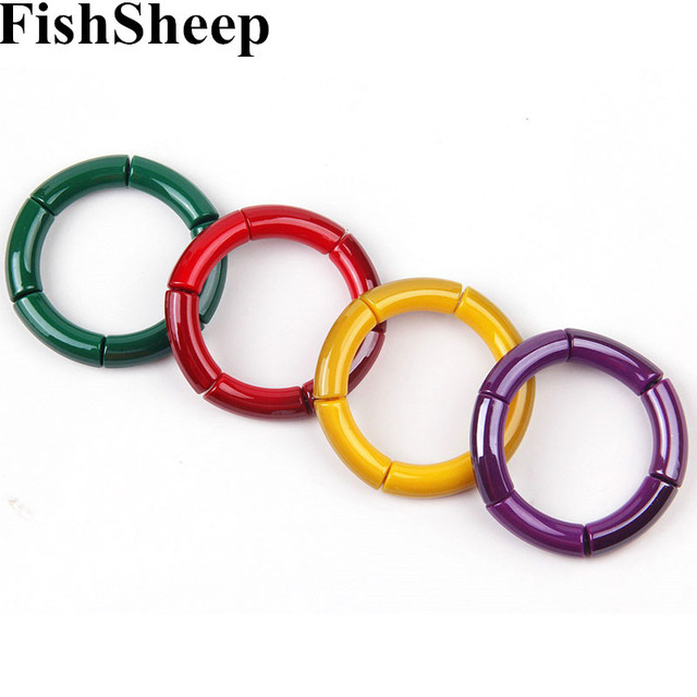 FishSheep Statement New Bohemian Acrylic Beads Charm Bracelets For Women Snake Chain Elastic Cuff Bracelets & Bangles Femme Gift