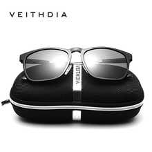 VEITHDIA Mens Square Retro Aluminum magnesium Sunglasses Polarized Blue Lens Vintage Eyewear Driving Sun Glasses For Men/Women