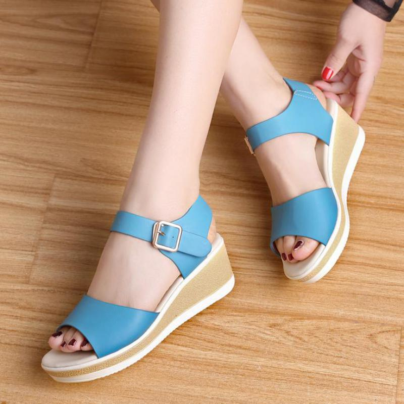 High Quality Womens Pu Leather Sandals Summer Shoes Woman High Heels Platform Wedges Comfortable Sandals Women Beach Shoes Blue plus size women s sandals wedges platform leather sandal for women gladiator sandals summer shoes woman high heels casual shoes