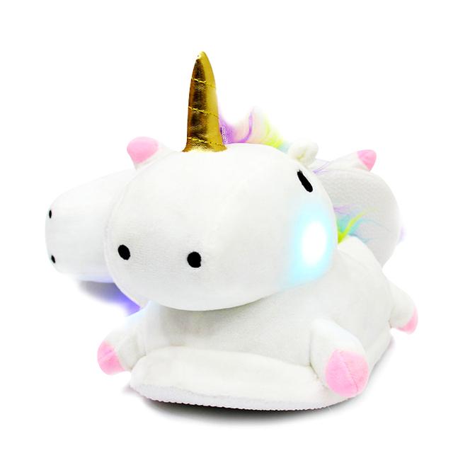 Cute LED unicorn home slippers