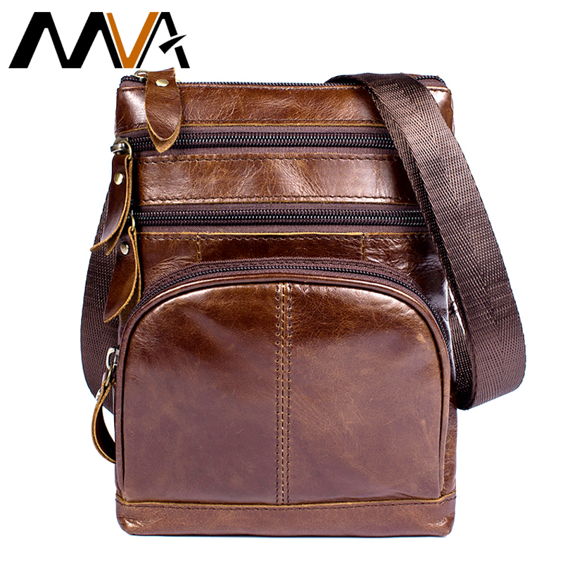 MVA Men Messenger Bags Genuine Leather Bag Male Zipper Casual Crossbody Bags for Men Leather Shoulder Bag Small Flap New 8121